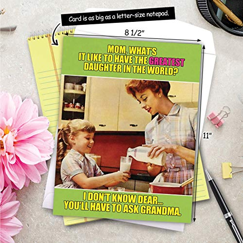 NobleWorks, Ask Grandma - Funny Jumbo Mother�s Day Card (8.5 x 11 Inch) - Vintage, Retro Notecard for Mom, Grandma - From Daughter J0222 Photo #8
