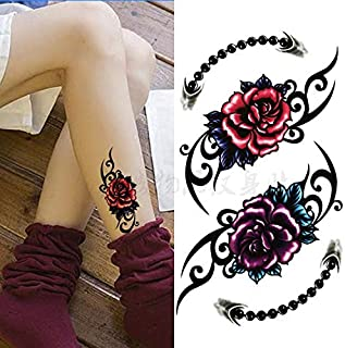 Colorful Beautifulred Rose Flower Body Art Waterproof Sexy for Woman Flash TemporaryTattoo Stickers 10 * 20CM KD361 (Color : 320)