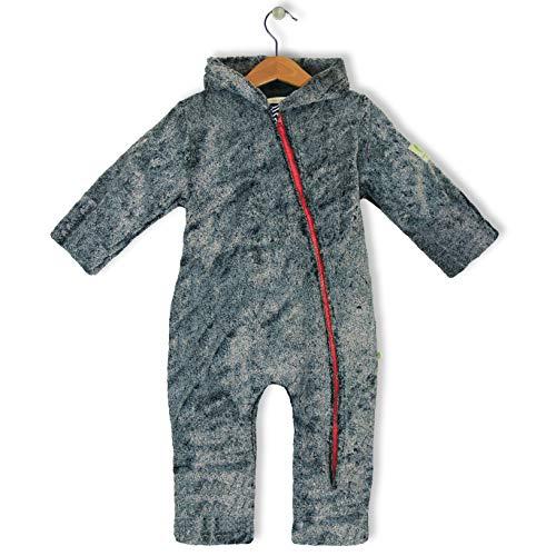 bubble.kid berlin - Unisex Baby Mädchen Jungen Ganzjahres Anzug Overall, Doublefleece, Reissverschluss mit Kinnschutz Grösse: 62-68 (0-6 Monate), Farbe: Graphit Melange