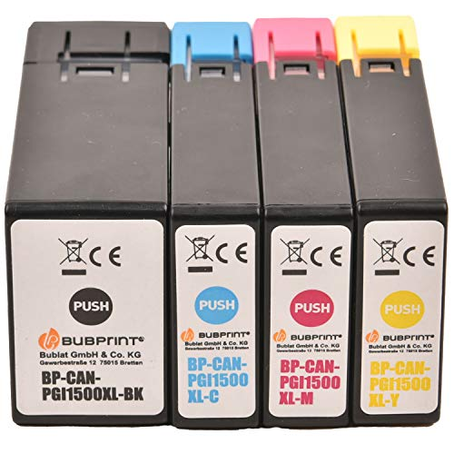 Bubprint 4 Druckerpatronen kompatibel für Canon PGI-1500XL für Maxify MB2000 MB2050 MB2100 MB2150 MB2155 MB2300 MB2350 MB2700 MB2750 MB2755 Multipack BK C M Y