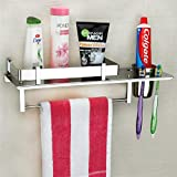 Plantex Stainless Steel 3 in 1 Multipurpose Bathroom Shelf/Rack/Towel Hanger/Tumbler Holder/Bathroom Accessories