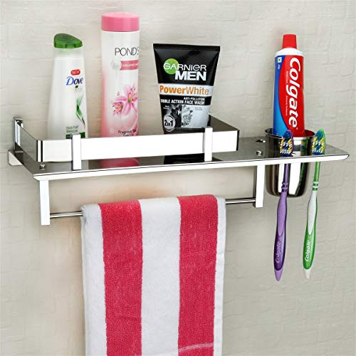 Plantex Stainless Steel 3 in 1 Multipurpose Bathroom Shelf/Rack/Towel Hanger/Tumbler Holder/Bathroom Accessories (15 x 6 Inches) - Pack of 1