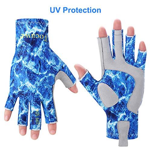 Tocawe Fishing Fingerless Gloves UV Protection Sun Gloves Waterproof Outdoor Gloves for Men Women (S/M, Sea Blue)