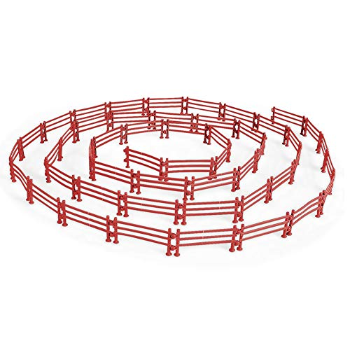 YUCAN 50PCS Toys Fence Horse Corral Fencing Accessories Playset, Mini Plastic Garden Fence Toys Farm Animals Horses Figurines, Fence Panels, Paddock Toys, Cake Toppers for Kids (F Brown)