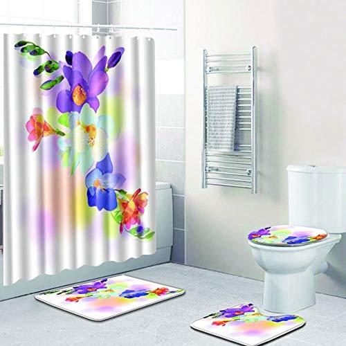 4 Stück grau Lotus rutschfeste Badezimmer Teppich EAU De Toilette Badematte Set rutschfeste Matte Badezimmer Matte - 1.500MMx800MM