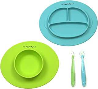 Silicone Bowl and Silicone Plate Easily Wipe Clean - Self Feeding Set Reduces Spills - Spend Less Time Cleaning After Meals with a Baby or Toddler - Set Includes 2 Colors (Lime Green/Turquoise)