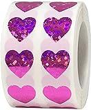 Rosas Pegatinas de Corazones Brillantes, 13 mm 1/2 Pulgadas Brillantes Etiquetas Holográficas del día de San Valentín 1000 Paquete