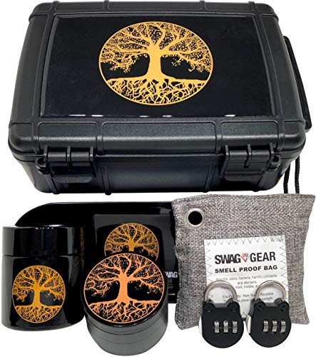 Tree of Life Stash Box Combo - Smell Proof Stash Box Combo - Locking Stash Box Combo - Comes with Grinder Stash Jar and Rolling Tray - (Tree of Life)