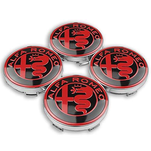 Tapas Para Llantas de Coche 4pc 56mm 60 mm centro de la rueda del automóvil Caps de la insignia Etiqueta engomada con ruedas cubiertas a prueba de polvo compatibles con Alfa Romeo Giulietta Spider GT