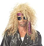Mildiso Perücke Blond herren Wig 80er Gewellt Mode metal rock hippie für Karneval Fasching Cosplay Halloween Rocker Party Kostüm Perücken Damen 029