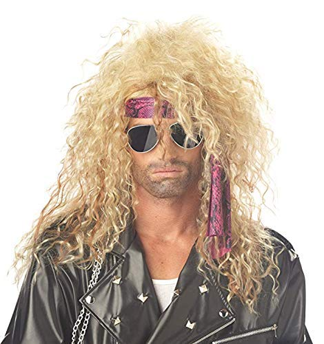 Mildiso Perücke Blond herren Wig 80er Gewellt Mode metal rock hippie für Karneval Fasching Cosplay Halloween Rocker Party Kostüm Perücken Damen 029