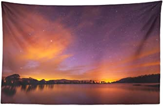 Starry Sky Wall Tapestry,Tapestry Wall Hanging Beautiful Spring Night with Stars Clouds and Long Sky Forest WallArt for Bedroom Living Room Tablecloth Dorm Decor 45x30 Inches, Beautiful Spring