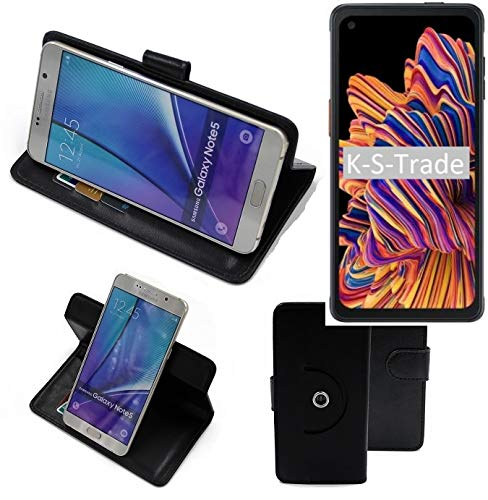K-S-Trade 360° Funda Smartphone para Samsung Galaxy XCover Pro, Negro | Función De Stand Caso Monedero BookStyle Mejor Precio, Mejor Funcionamiento