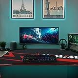 Himimi 60'' Gaming Schreibtisch, 152 x 71 x 76cm Ergonomischer Gaming Tisch, T-Form Gaming Computertisch PC Schreibtisch Gamer mit großer Mauspad, Becherhalter, Kopfhörer-Haken & Kabelmanagement - 7