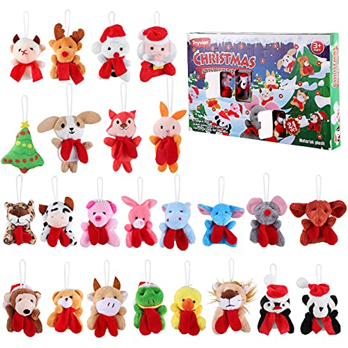 Toyvian - Calendario dell'Avvento natalizio 24 statuette assortite in miniatura in resina di Natale con sorprese, decorazione natalizia (stile 4)