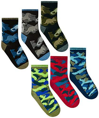 STC Stores Jungen Socken mit Dinosaurier- & Camouflage-Muster, Baumwolle, 6 Paar Gr. L, mehrfarbig