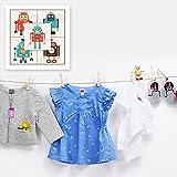Paquete de etiquetas de ropa personalizadas que incluye adhesivo, planchas y etiquetas de bolsa para niños, resistente al agua y la lavandería (tema de robots retro)