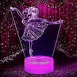 Luce Notturna Ballerina 3D per Bambini, Lampada LED per Ragazza USB Luce Notturna Illusione, 16 colori che Cambiano con Telecomando per Bambini Adulti Regalo di Compleanno e Festa