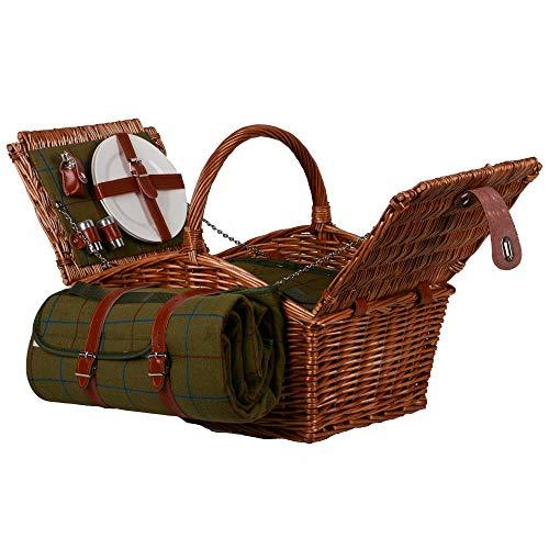 UNUS Nature by Kolibri Picknick Set 2 Personen mit Picknickkorb, Picknickdecke, Besteck und Geschirr