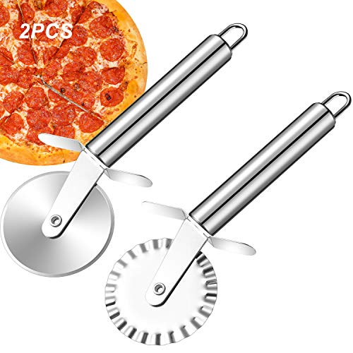 2 PACK Pizza Cutter Wheel, Quality Stainless Steel Pizza Cutter, Super Sharp Pizza Slicer with Non Slip Handle, Easy to Clean, Corte De Pizza