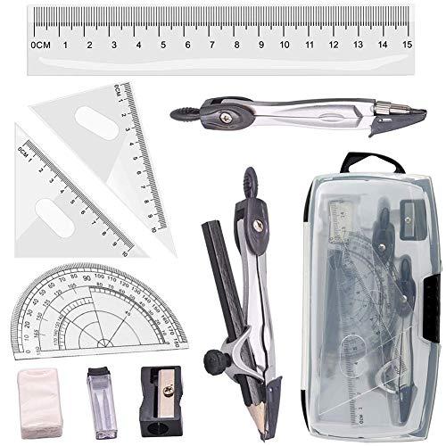 INTVN Set de Geometría de 10 Piezas, Incluye Reglas Prolongador Lápiz de Brújula Plomo Replicas Lápiz, Borrador para Escuela y Oficina