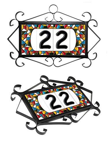 Número y letras para casa, Cerámica Pintada a Mano 5 x 11 cm md trencadis, Grabado y Cerámica Española (Herraje para 4 piezas)