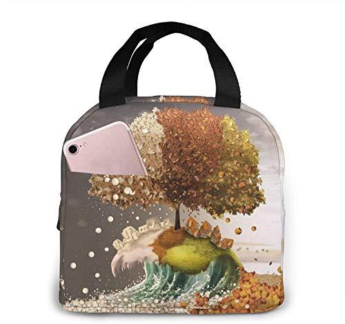 Bolsas de almuerzo con diseño de árbol de pintura, bolsa de refrigerador de contenedor de lonchera aislada portátil, bolsa de Bento para viajes / picnic / trabajo