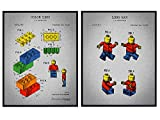 Legos and Figures Patent Art Prints - Contemporary Vintage Wall Art Poster Set - Chic Rustic Home Decor for Boys Room, Kids Room, Playroom, Rec Room, Family Room - Gift for Boys - 8x10 Photo Unframed