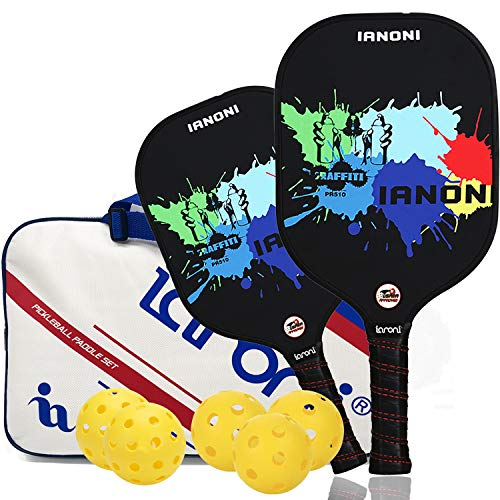 ianoni Pickleball Paddle Set - 2 Premium Lightweight Graphite Rackets Honeycomb Composite Core,Includes 4 Balls, Portable Racquet Cover Case Bag,Ultra Cushion Grip, USAPA Approved
