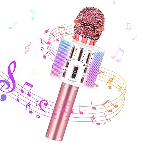 Karaoke Microfono Wireless Bluetooth, 3 in 1 Microfono Portatile per Bambini Che Canta con Luci LED Altoparlante per Lettore KTV per Feste in Casa, Karaoke Macchina per Smartphone (Oro Rosa)