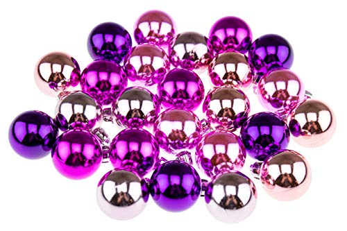 Clever Creations Shatterproof Christmas Ornaments Small 25mm Peach, Pink, Magenta, Purple, Light Pink Christmas Décor   25 Pack Set Perfect for Christmas Decorations