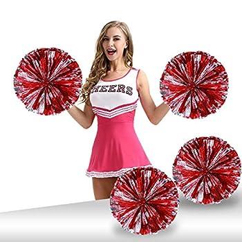 Pack of 4 Cheerleading Pom Poms Foil Plastic Metallic Cheerleader Pom Poms for Cheer Sport Kids Adults Team Spirit Cheering  Red/Silver