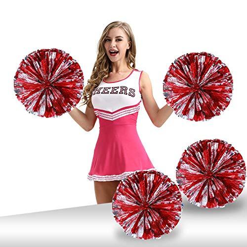 Pack of 4 Cheerleading Pom Poms Foil Plastic Metallic Cheerleader Pom Poms for Cheer Sport Kids Adults Team Spirit Cheering (Red/Silver)