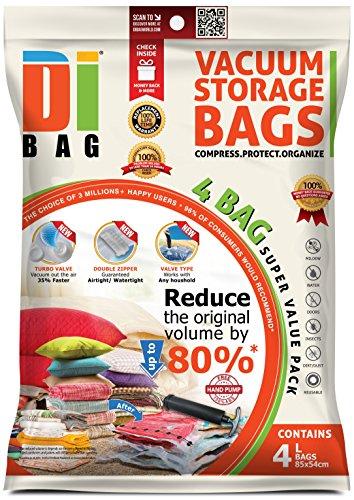 DIBAG Space Saver Vacuum Storage Bags - 4 Premium Travel Space Bags - Bag Size: Large 85x54 cm...