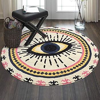 HAOCOO Spirit Eye Round Area Rugs 3ft Super Soft Velvet Vintage Throw Rug Non-Slip Creative Tribal Style Floor Carpet for Bedroom Living Room Nursery Decor