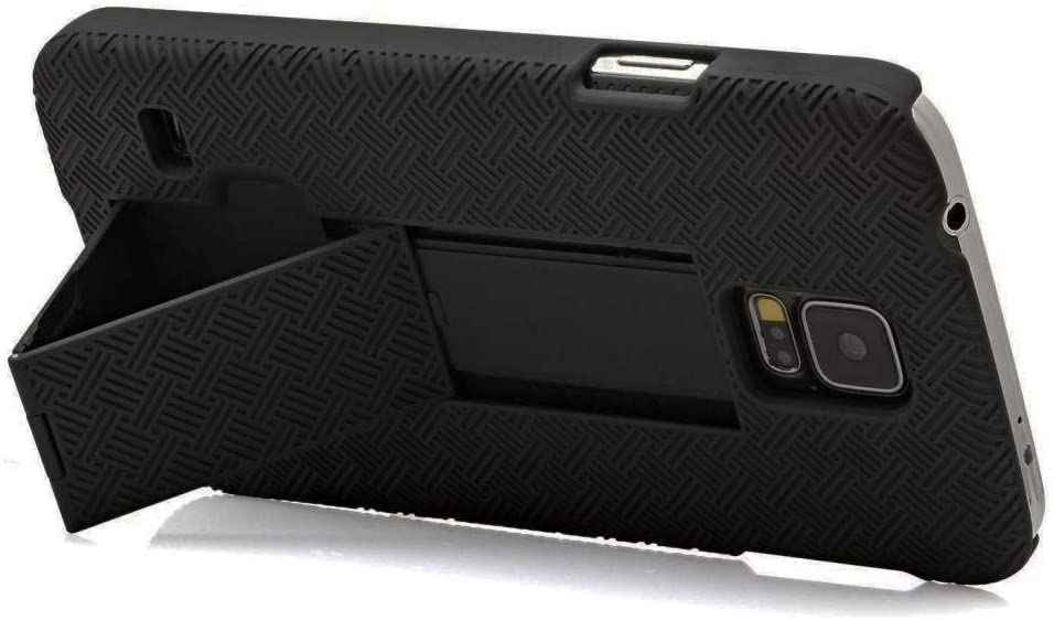Compatible for Samsung Galaxy S5 SM-900V, G900A, G900T, G900A, G900V Case, Holster Shell Swivel Belt Clip Phone Cover (Black)