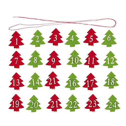 Fgolphd 24pcs 4 * 3.5cm Christmas Countdown Adviento Calendario de Navidad Calendario...