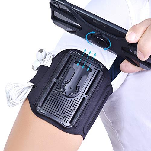 Sannkey - Banda de brazo deportivo unisex, desmontable, soporte para teléfono móvil, brazo deportivo, pantalla táctil abierta, apta para brazos y muñecas,