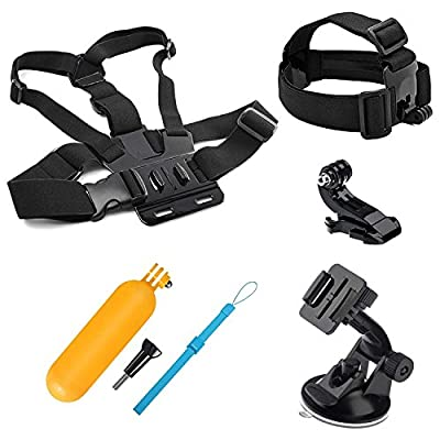 Lighten 4in1 Travel Accessories Bundle Kit for GoPro Hero 7 Black Silver White/6/5/4/3+/3/2/1/HERO(2018)/Fusion AKASO EK7000 APEMAN Campark VTIN 4K WiFi Action Camera Head Belt,Chest Strap by Lighten