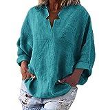 Übergröße aus Linen T-Shirt Tasche Lose Bluse für Damen/Dorical Mode Frauen Langarm V-Ausschnitt Tops Flügelhülse Lose Solid Oberteile Elegant Shirt S-XXL Ausverkauf(Blau,Large)