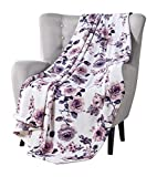Decorative Throw Blankets: Soft Plush Lively Rose Floral Accent for Couch or Bed, Colored: Blush Pink Purple Navy Blue Grey White