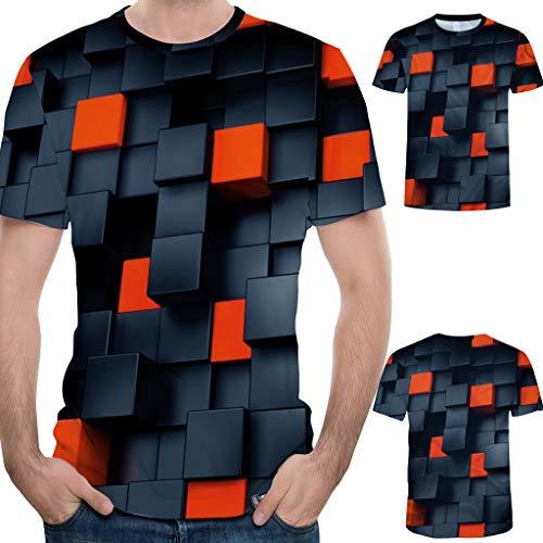 MOTOCO Herren Kurzarm T-Shirt Tops Mode Splash-Tinte 3D-Druck Tees Shirt Übergröße Bluse(XXL,Schwarz)