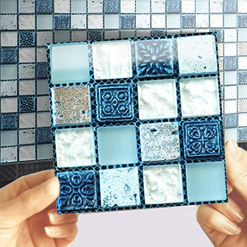 EasyLife - 40 adhesivos para azulejos de pared para decoración del hogar, 10 x 10 cm, impermeables, autoadhesivos, adhesivos para azulejos para cocina y baño(Set1)