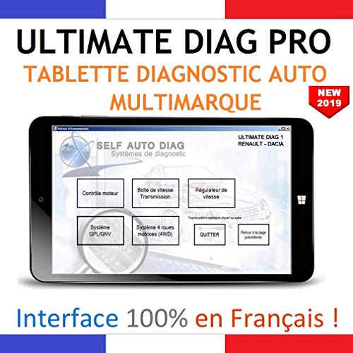 ULTIMATE DIAG PRO - Valise Diagnostic + Tablette PC 8 pouces Windows 10 - Interface MULTIMARQUES - Valise diagnostique auto multimarque en francais de SELF AUTO DIAG