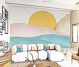 Literary Peak Sunrise Geometry Fondos de pared para decoración de paredes de sala de estar y dormitorio papel pintado pared dormitorio de estar sala de estar fondo No tejido-200cm×140cm