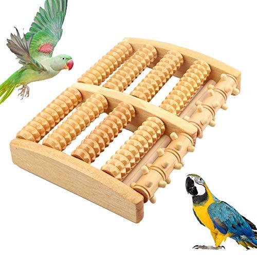 ZWW Vogelspeelgoed, Houten Kleine Papegaaien Spelen Intelligentie Training Speelgoed Loopband Voet Massager Vogelkooi Accessoires
