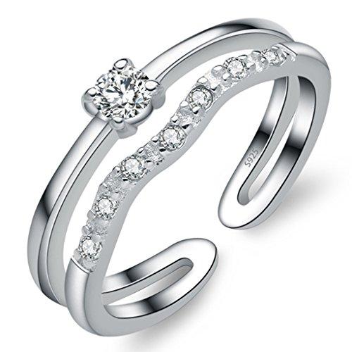 Unendlich U Zweistöckige Wellen 925 Sterling Silber Einstellbare Eternity Channel Set Zirkonia Kleiner Finger Ringe für Mädchen Damen, Ringgröße 46