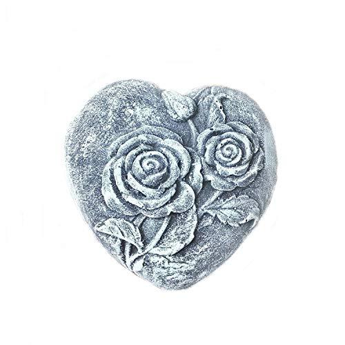 Steinfigur Grabschmuck Herz mit Rosen Rosenherz Frostfest Steinguss