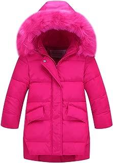 CJMJXPH Kids Girls Winter Warm Jackets Snowsuit Hooded Windbreaker Outwear with Soft Fur Hoodies for 3-12 Years Old Gifts