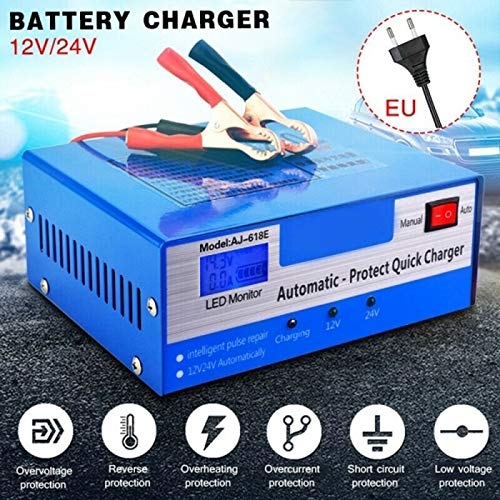 FinWell Motorcycle Car Battery Charger 12V 24V Pure Copper Intelligent Repair Automatic Battery Charger Idle/Constant Current/Constant Voltage/Float Charging/Maintenance